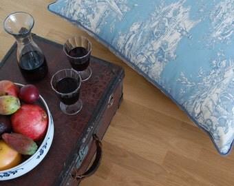 BLEU, large floor pillow, Sitzkissen, large floor cushion, French fabric, french, toile de jouy, cotton, 90 x 90 cm, blue, coussin, kissen