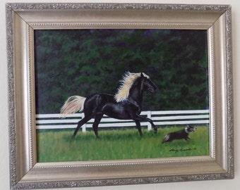 Beautiful Horse Running with Dog along fence acrylic painting