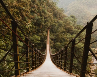 Fine Art Print Photo Suspension Bridge in the Mountains in Taiwan, Travel, Bridge, Asia, Taiwan, Fine Art Photography