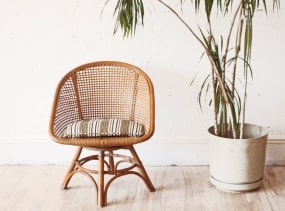 Mid Century Rattan Swivel Hoop Chair