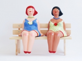 Best Friends Dolls, Eco Friendly sculpture, Eco gift, Recycled Sculpture, Unique Gift