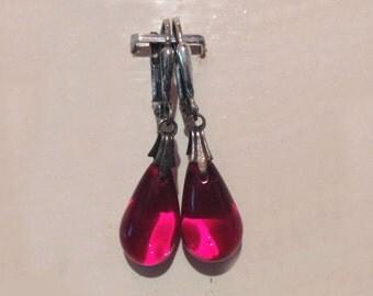 Glass Tear Drop Earrings - Garnet