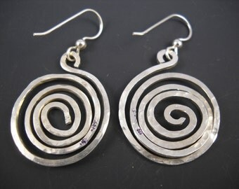 Sterling Silver Hammered Spiral Dangle Earrings