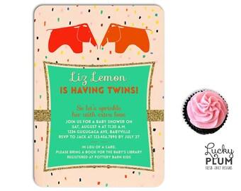 Elephant Twin Baby Shower Invitation / Sprinkle Baby Invite / Animal Invite / Mint Invite / Eames Elephant / Couple Invite / *Digital fiel