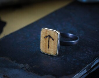 Viking, Norse heathen sterling silver Rune ring - Unisex