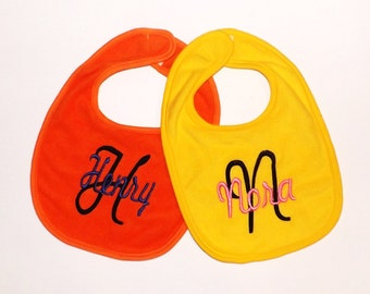 Set of Two Baby Bibs - You Pick All - Large Letter with Name