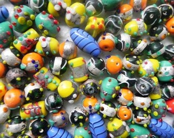 1 Pounds silver lined lampwork glass beads Supplies - Awesome  wholesale beads SUPER DELUX lampwork bumpy beads mix  handmade