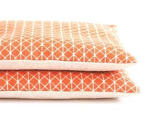 Organic Lavender Sachet Set in Orange Geometric Fabric and Natural Linen Set of 2 Natural Home Wedding Favors Handmade Wholesale