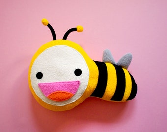 Bee Plush Toy, Bee Soft Toy, Bee Doll, Bee Cushion, Bee Pillow, Bee Toy, MINI Busy Buzzy Bee, nursery decor, decorative bee, bee decor