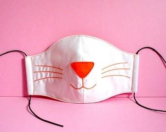 Cat Mask, Cat Face Mask, Mouth Mask, Nose Mask, White Cat - Littleoddforest Kitty Cat