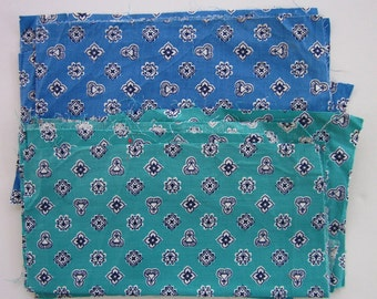 Vintage Quilting Cotton Fabric Pieces/Large Scraps, Same Print, Two Colorways, Turquoise and Blue