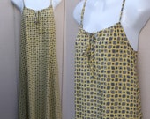 Vintage 90s Yellow Rayon Sundress with drawstring neckline / 1990s Midi A-Line Tent Jumper Dress