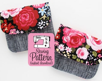 Pleated Pouches PDF Sewing Pattern | Sew quick and easy pleated pouches in five sizes to use for card wallets, small clutch, or storage.
