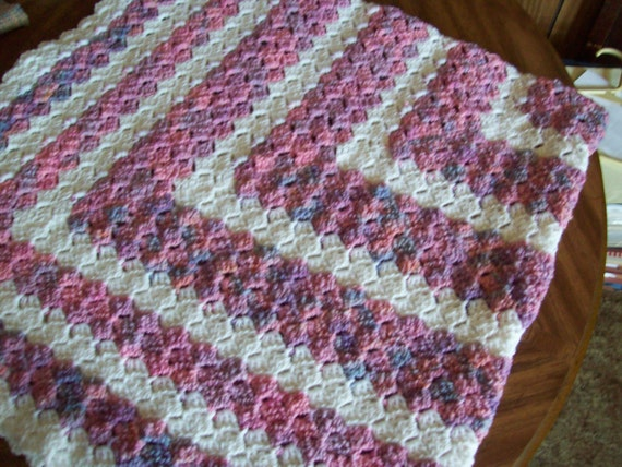 Crochet Pattern For C2c Blanket : Square Hand Crocheted C2C Baby Blanket Multi Pink and White
