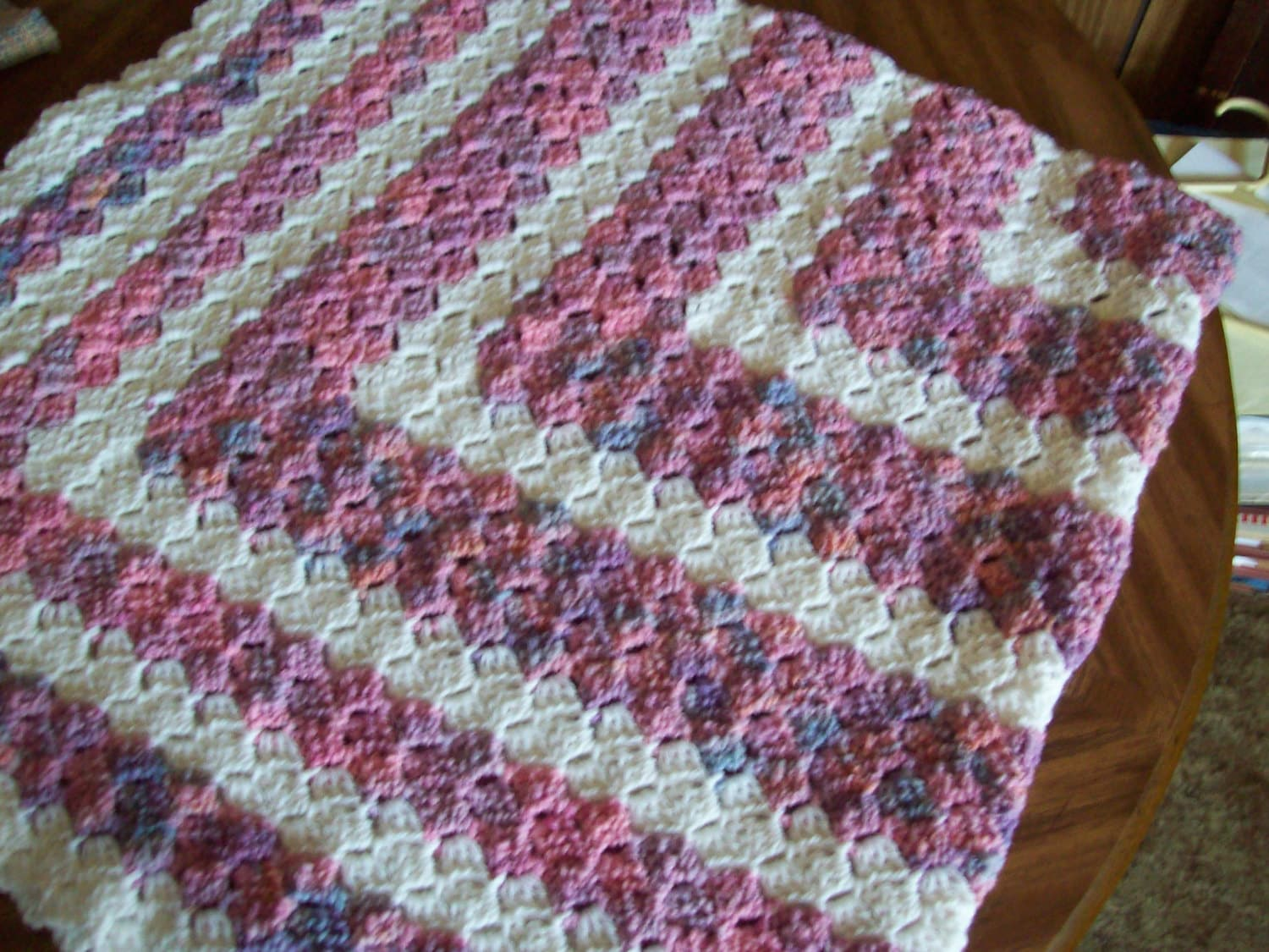 Square Hand Crocheted C2c Baby Blanket Multi Pink And White