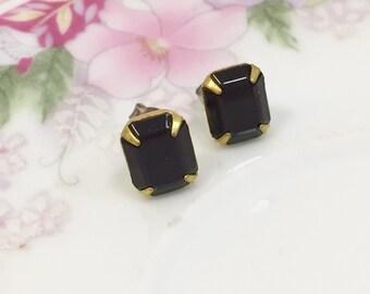 Black Glass Studs, Rhinestone Wedding Earrings, Rhinestone Stud Earrings, Black Rhinestone Studs, Vintage Earrings, KreatedByKelly