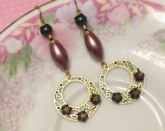 Assemblage Earrings, Green Pearl Earrings, Black Flower Earring, Metal Charm Earring, Bohemian Earring, Long Dangle Earrings