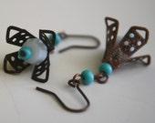Fleur - white turquoise and copper flower earrings