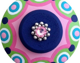 Navy Turquoise Lime Green Pink Polka Dots Swarovski Crystal Jeweled Hand Painted Wood Decorative Kids Dresser Colorful Drawer Knobs Pulls