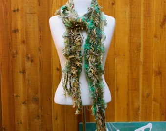 Algae G01, an Everyday Scarf in greens with lots of texture handwoven and felted by me