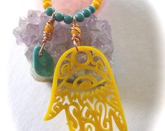 Boho Necklace, Hamsa Hand, Arizona Turquoise, Yellow Necklace, Long Necklace, Layering Jewelry, Bright Jewelry, Spring Necklace, Extra Long