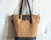Cork and slate gray leather tote