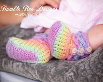 Baby Booties – Wool Baby Shoes - Rainbow Baby Booties - Rainbow Baby Shoes - Rainbow Crib Shoes - Pastel Baby Booties - Crochet Baby Booties