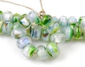 Emerald Glacier Spacers - Handmade Artisan Lampwork Glass Beads - 5mmx9mm SRA (Set of 10 Spacer Beads)