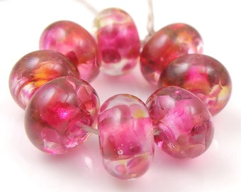 Fruit Punch Swirls - Handmade Lampwork Glass Round Beads - Pinks - SRA (Set of 8 Beads)