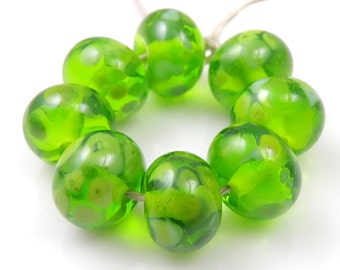 Green with Envy - Handmade Lampwork Glass Round Beads 8mmx12mm - Green - SRA (Set of 8 Beads)