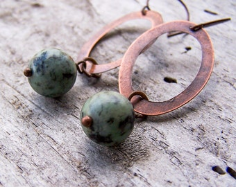 Rustic || Natural African Turquoise Stones | Copper Oval Connectors | Boho | Hippie | Earthy | Organic | Woodland | Etsy Earrings Under 20