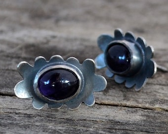 cloud post earrings - iolite and sterling silver