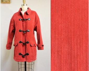 1980s Jantzen Red Corduroy Coat   Vintage Toggle Closure Jacket   Size Large