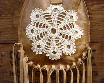 Tan Leather Crossbody Bag with Fringe and Crochet Lace Doily Hazelnut Dreamcatcher - MADE TO ORDER