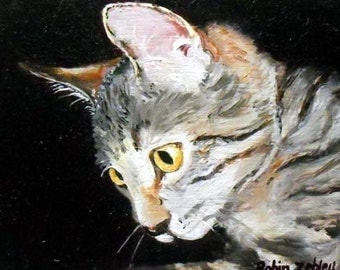 Custom Cat Portrait Oil Painting on Canvas