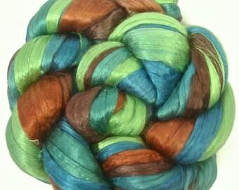 Handpainted Bombyx Silk Roving - 2 oz. MALLARD - Spinning Fiber