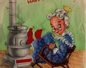 Birthday Card Old Lady by Fireplace - Vintage