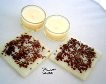 Pair of Fused Glass Candle Trays in Cream and Spice, Glass Decor, Glass Coasters, Willow Glass