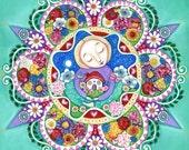 Nourish garden flower mandala art whimsical folk painting aqua mint green mixed media painting art for kids gift for girl friend