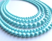 The Janelle- Light Blue Glass Beaded Statement Necklace