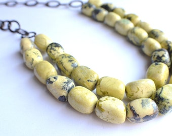 CLEARANCE- The Savannah- Yellow Jasper and Dark Brass Chain Necklace