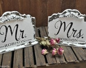 MR & MRS Signs, Sweetheart Table, Table Signs, 8 x 7, Personalized Sign, Vintage Inspired, Distressed Sign, Self Standing, Shabby Chic Signs