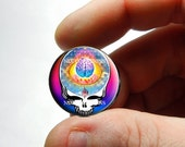 25mm 20mm 16mm 12mm 10mm or 8mm Glass Cabochon - Grateful Dead Steal Face Head Design 2  - for Jewelry and Pendant Making