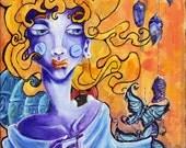 SURREAL ART PRINT Cocooned 8x10 Acrylic Painting Print by Ela Steel sad moody artwork butterflies cocoons ladybug bipolar yellow purple