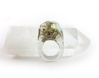 Asymmetrical Faceted Terrarium Ring • Size 4.5