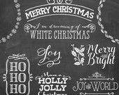 Photography Digital Chalk Photoshop Christmas Overlays Clipart with FREE Chalkboard Backgrounds