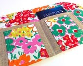 Spring Garden Passport Cover, Family Size Case- Mini In Touch Clutch for Moleskine Journal and Passports, Lilly Pulitzer-style Spring Floral