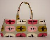 Modern Granny Handbag. Vintage Styling, Modern Practicality. Mod Pink Barkcloth.