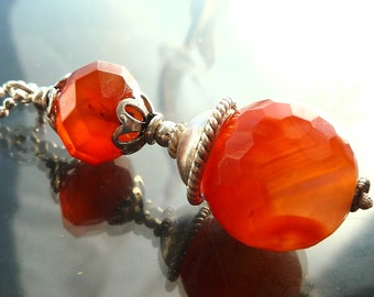 Faceted Carnelian crystal orb in sterling silver orange gemstone necklace victorian steampunk pendulum fob