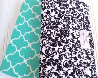Burp Cloths - Gender Neutral Baby Girl or Boy - Set of 2 - Super Absorbent Triple Layer Chenille  - Black and White Floral & Teal Quatrefoil